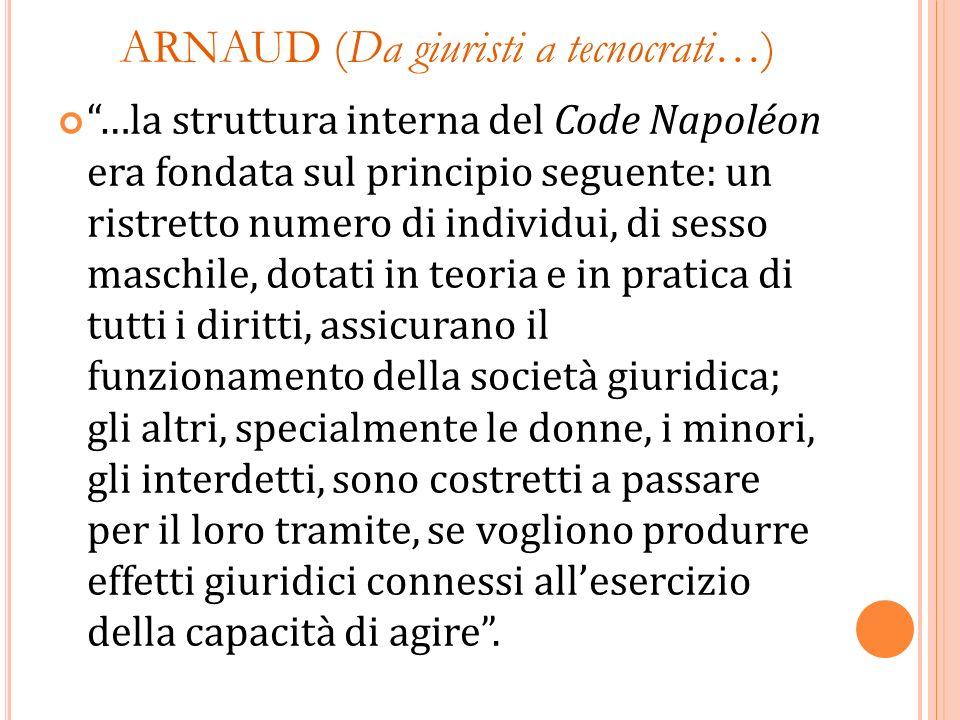 ARNAUD (Da giuristi a tecnocrati…) …la struttura interna del Code Napoléon era fondata sul principio seguente: un ristretto numero di individui, di se