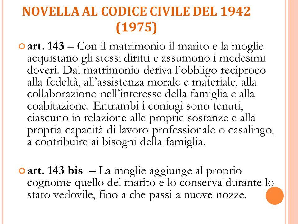 NOVELLA AL CODICE CIVILE DEL 1942 (1975) art. 143 – Con il matrimonio il marito e la moglie acquistano gli stessi diritti e assumono i medesimi doveri