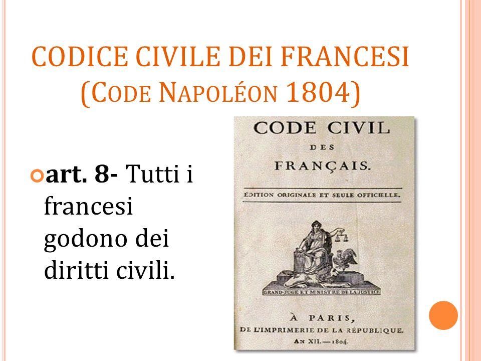 CODICE CIVILE DEI FRANCESI (C ODE N APOLÉON 1804) art. 8- Tutti i francesi godono dei diritti civili.