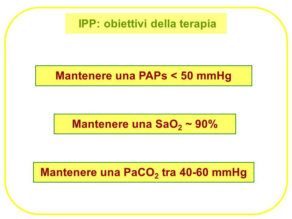 IPP: obiettivi della terapia Mantenere una PAPs < 50 mmHg Mantenere una SaO 2 ~ 90% Mantenere una PaCO 2 tra 40-60 mmHg