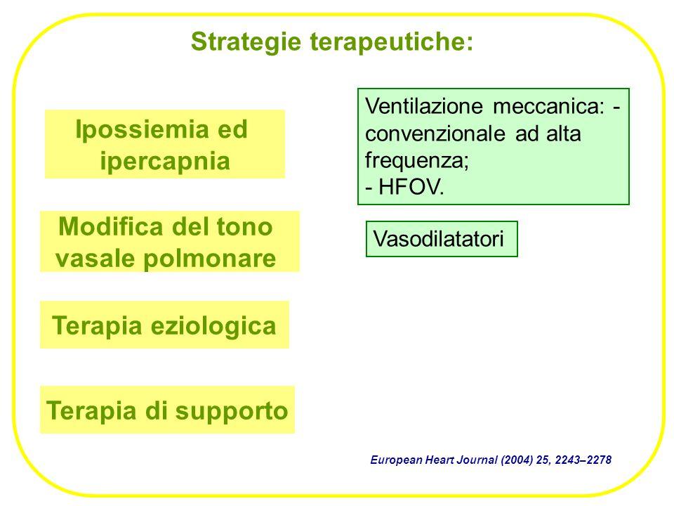 Strategie terapeutiche: Ipossiemia ed ipercapnia Modifica del tono vasale polmonare Ventilazione meccanica: - convenzionale ad alta frequenza; - HFOV.
