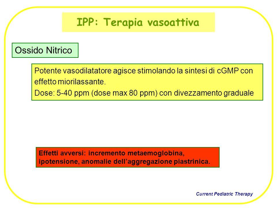 IPP: Terapia vasoattiva Potente vasodilatatore agisce stimolando la sintesi di cGMP con effetto miorilassante. Dose: 5-40 ppm (dose max 80 ppm) con di
