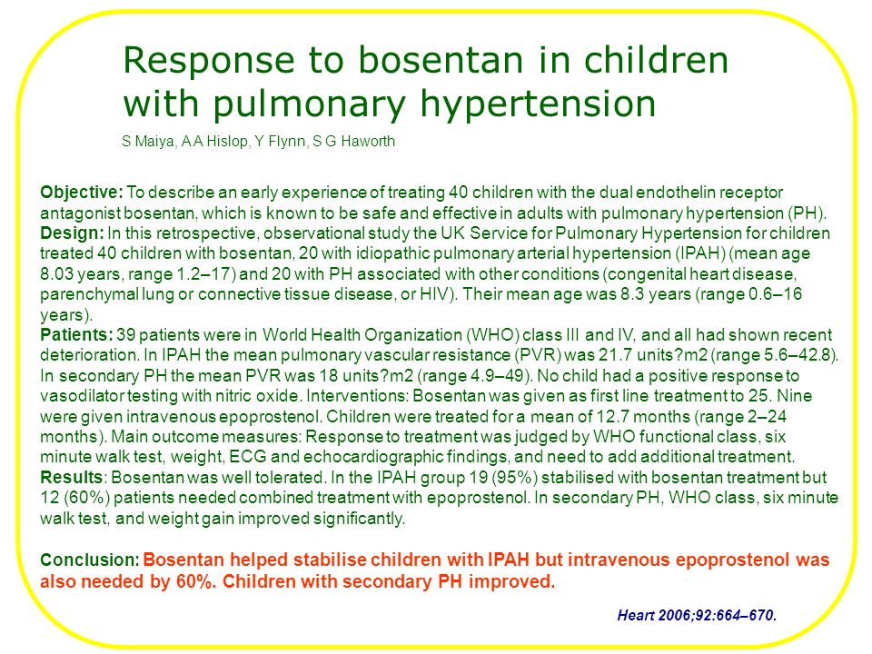 Objective: To describe an early experience of treating 40 children with the dual endothelin receptor antagonist bosentan, which is known to be safe and effective in adults with pulmonary hypertension (PH).