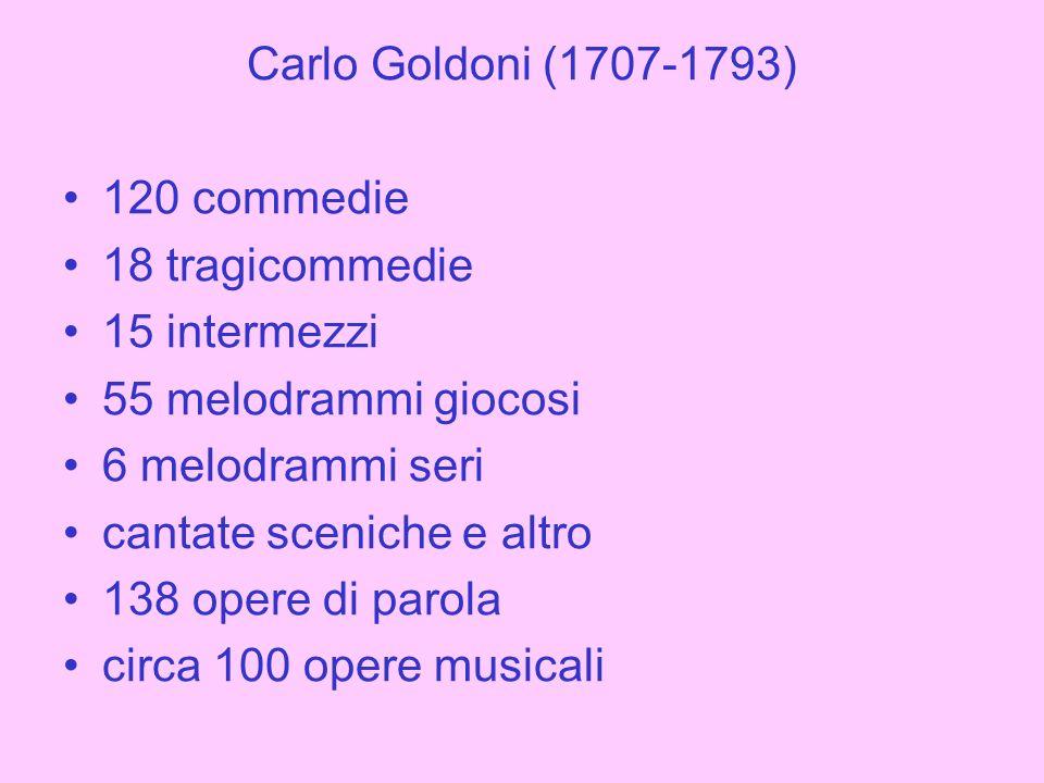 Intermezzi La birba (1735) Monsieur Petiton (1736) La favola de tre gobbi (1749) La cantarina (1756) Melodrammi giocosi Lugrezia romana in Costantinopoli (1737) LArcadia in Brenta (1749) Il finto principe (1749) La mascherata (1751) Le pescatrici (1752) Le virtuose ridicole (1752) Il filosofo di campagna (1754) Lo speziale (1755) La ritornata di Londra (1756) La buona figliuola (1757) Lisola disabitata (1757) La conversazione (1758) Il signor dottore (1758) Gli uccellatori (1759) Il Conte Chicchera (1759) La fiera di Sinigaglia (1760) Amore in caricatura (1761) La donna di governo (1761-1764) La buona figliola maritata (1761) Le nozze in campagna (1768) Il talismano (1779)