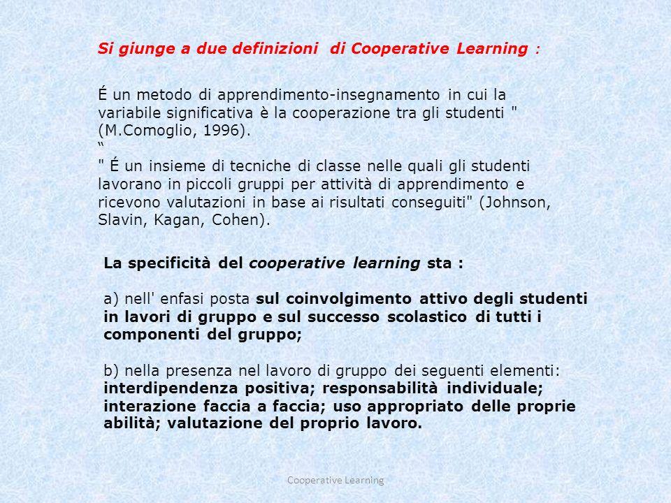 L apprendimento cooperativo è una tecnica di insegnamento centrata sullo studente che interagisce con altri studenti, ma è sempre il docente che propone i problemi da risolvere, che fissa i tempi, che fornisce gli spunti ai gruppi che lo richiedono, che stabilisce chi deve rispondere, e così via.