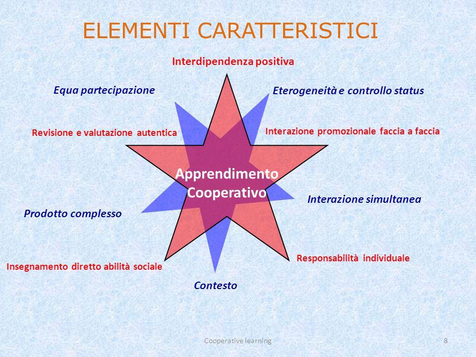Cooperative learning9 Responsabilità individuale: è richiesta la padronanza di tutti i contenuti/materiali da parte di tutti.