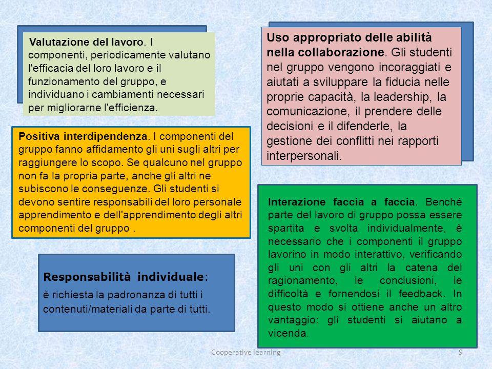 Cooperative learning10 Si può definire il Cooperative Learning come un insieme di tecniche di conduzione della classe, grazie alle quali gli studenti lavorano in piccoli gruppi per attività di apprendimento e ricevono valutazioni in base ai risultati acquisiti.