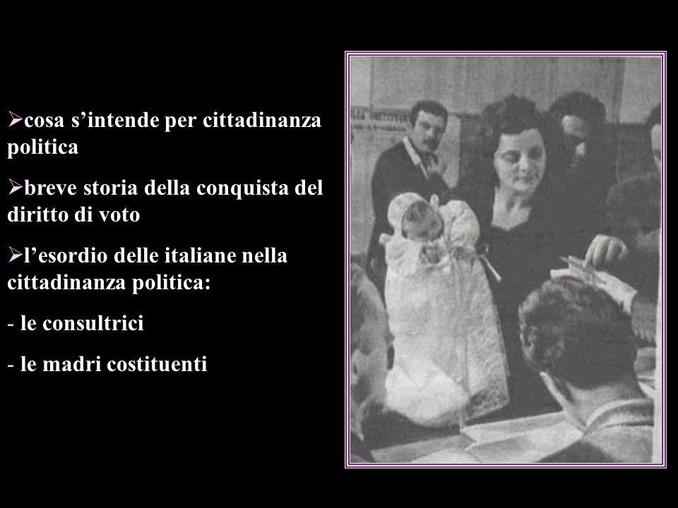 cosa sintende per cittadinanza politica breve storia della conquista del diritto di voto lesordio delle italiane nella cittadinanza politica: - le consultrici - le madri costituenti