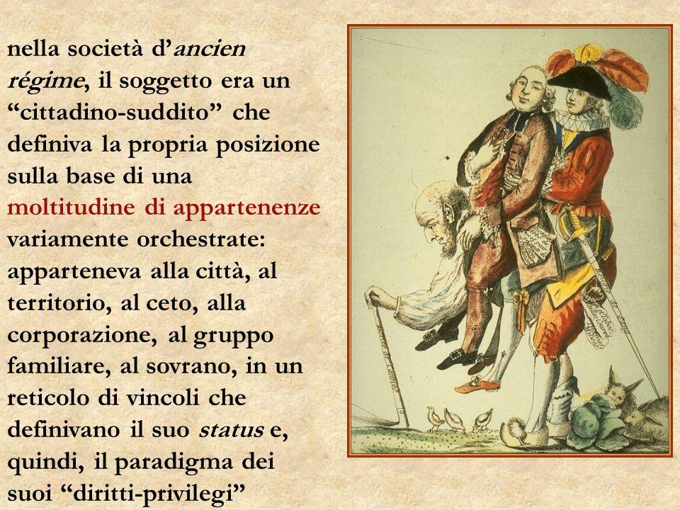 nella società dancien régime, il soggetto era un cittadino-suddito che definiva la propria posizione sulla base di una moltitudine di appartenenze variamente orchestrate: apparteneva alla città, al territorio, al ceto, alla corporazione, al gruppo familiare, al sovrano, in un reticolo di vincoli che definivano il suo status e, quindi, il paradigma dei suoi diritti-privilegi