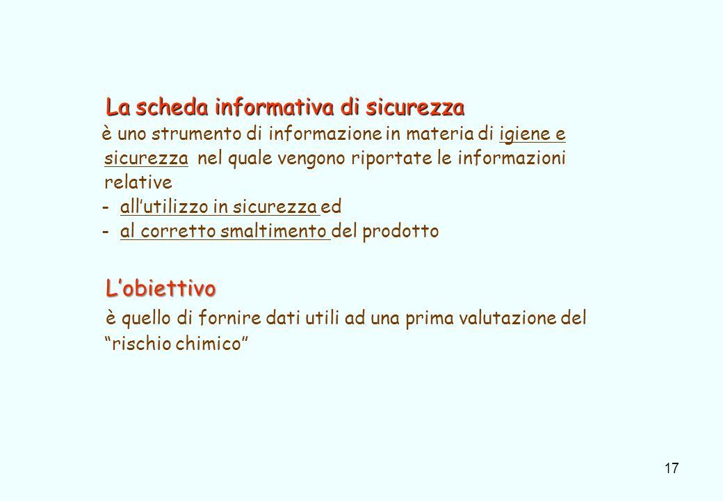 17 La scheda informativa di sicurezza La scheda informativa di sicurezza è uno strumento di informazione in materia di igiene e sicurezza nel quale ve
