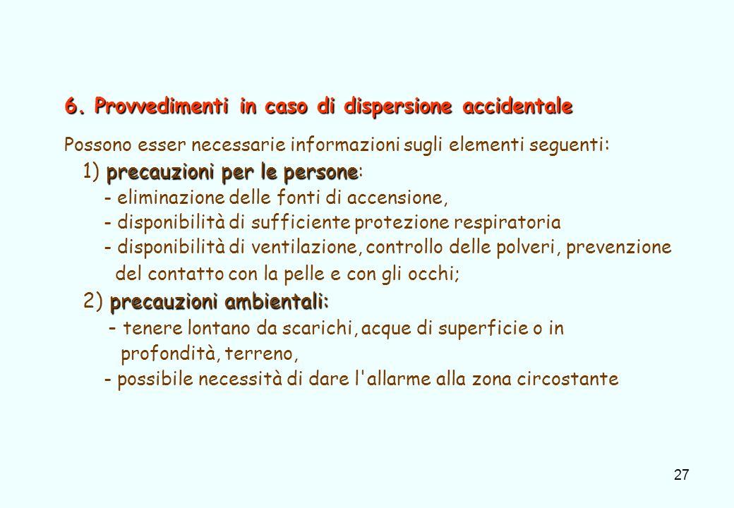 27 6. Provvedimenti in caso di dispersione accidentale Possono esser necessarie informazioni sugli elementi seguenti : precauzioni per le persone 1) p