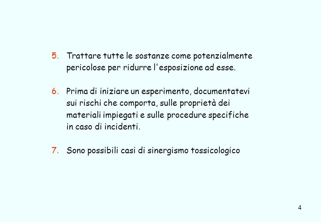4 5.Trattare tutte le sostanze come potenzialmente pericolose per ridurre l'esposizione ad esse. 6.Prima di iniziare un esperimento, documentatevi sui