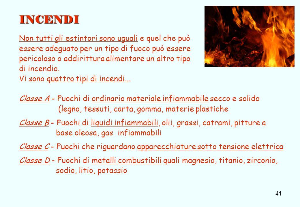 41 INCENDI Non tutti gli estintori sono uguali e quel che può essere adeguato per un tipo di fuoco può essere pericoloso o addirittura alimentare un a
