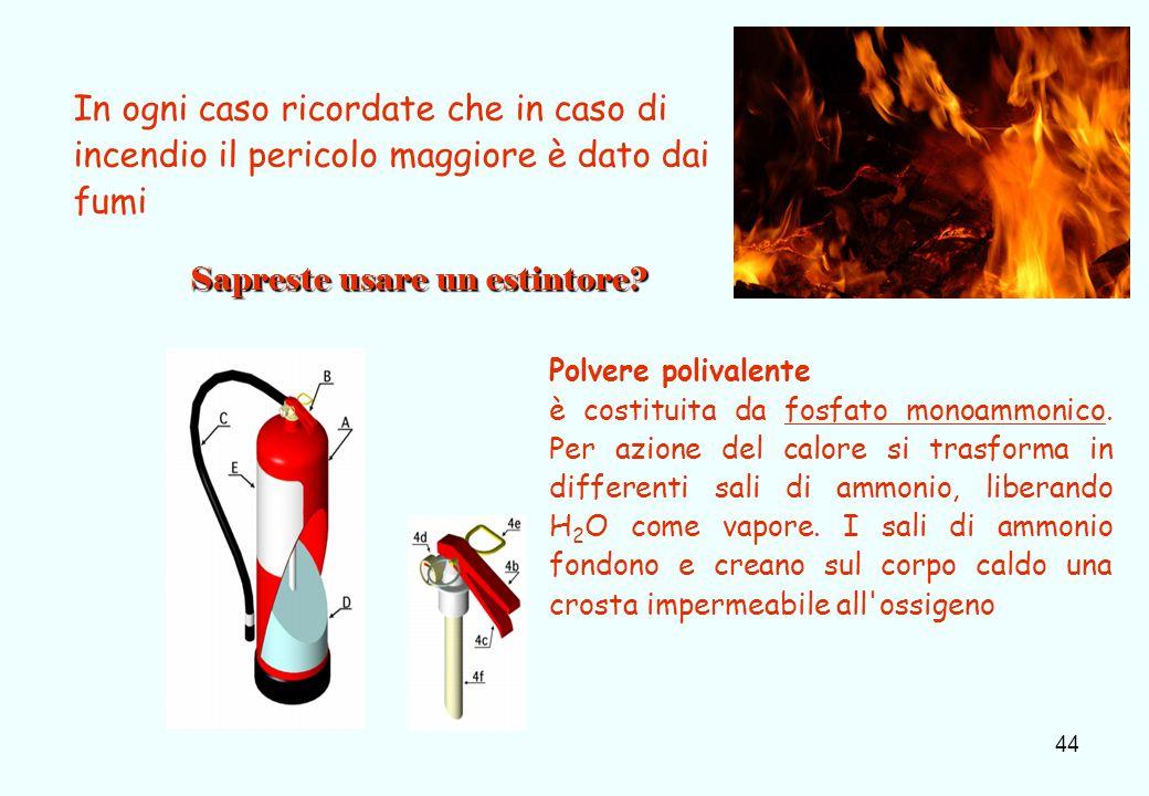44 In ogni caso ricordate che in caso di incendio il pericolo maggiore è dato dai fumi Sapreste usare un estintore? Polvere polivalente è costituita d