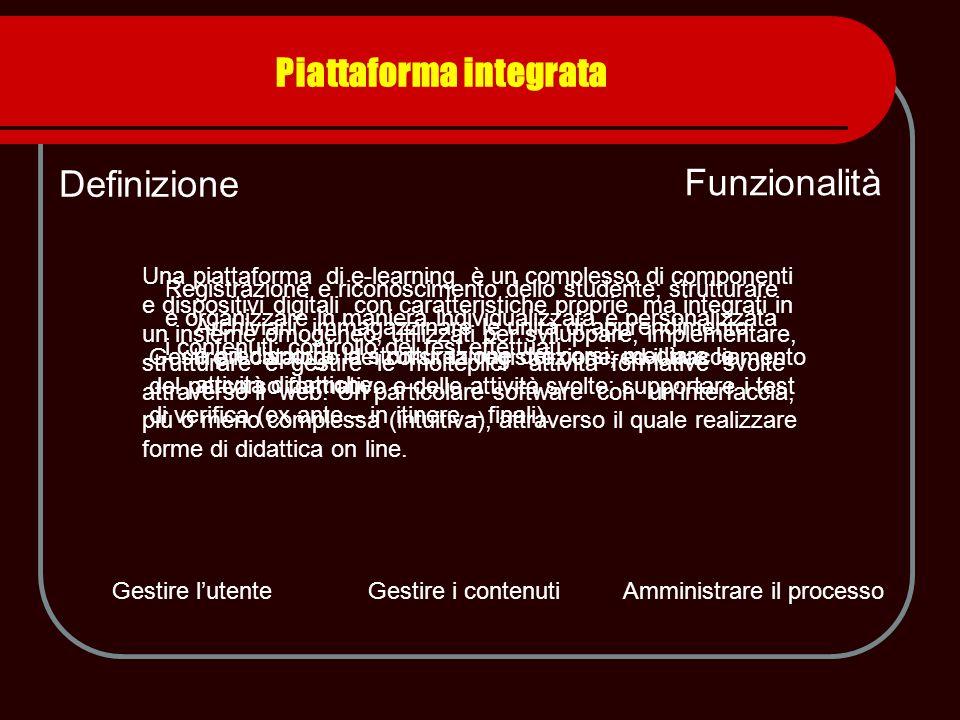 Piattaforma integrata Definizione Una piattaforma di e-learning è un complesso di componenti e dispositivi digitali con caratteristiche proprie ma int