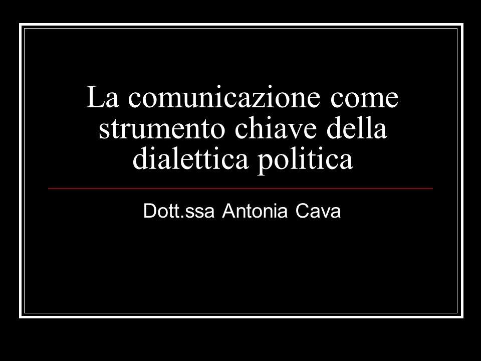 La comunicazione come strumento chiave della dialettica politica Dott.ssa Antonia Cava