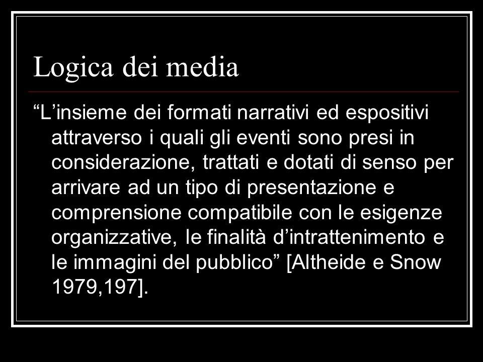 Logica dei media Linsieme dei formati narrativi ed espositivi attraverso i quali gli eventi sono presi in considerazione, trattati e dotati di senso per arrivare ad un tipo di presentazione e comprensione compatibile con le esigenze organizzative, le finalità dintrattenimento e le immagini del pubblico [Altheide e Snow 1979,197].