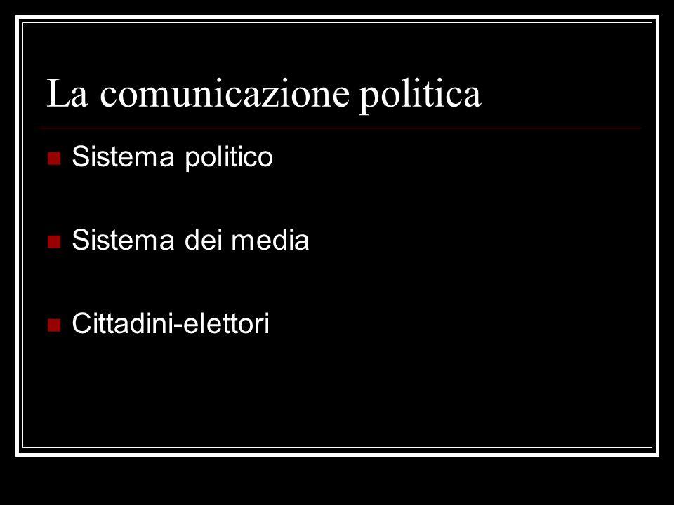 Comunicazione politica Lo scambio e il confronto dei contenuti di interesse pubblico-politico prodotti dal sistema politico, dal sistema dei media e dal cittadino-elettore