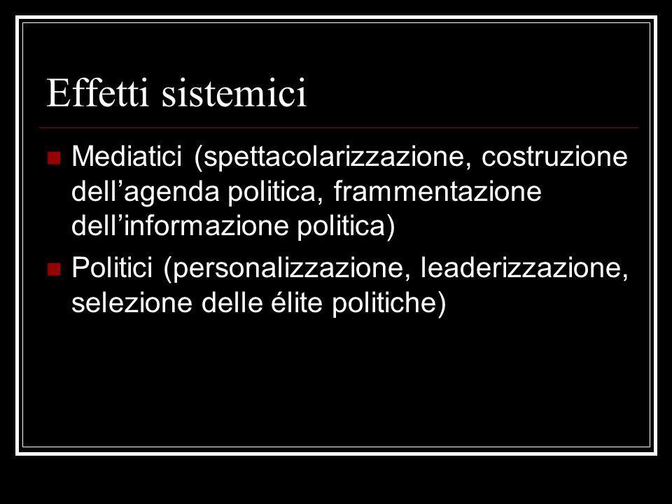 Effetti sistemici Mediatici (spettacolarizzazione, costruzione dellagenda politica, frammentazione dellinformazione politica) Politici (personalizzazione, leaderizzazione, selezione delle élite politiche)