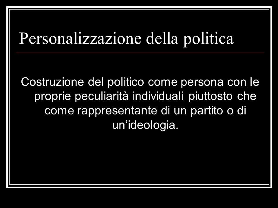 Personalizzazione della politica Costruzione del politico come persona con le proprie peculiarità individuali piuttosto che come rappresentante di un partito o di unideologia.