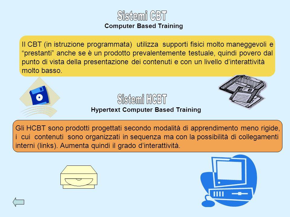 Computer Based Training Il CBT (in istruzione programmata) utilizza supporti fisici molto maneggevoli e prestanti anche se è un prodotto prevalentemen