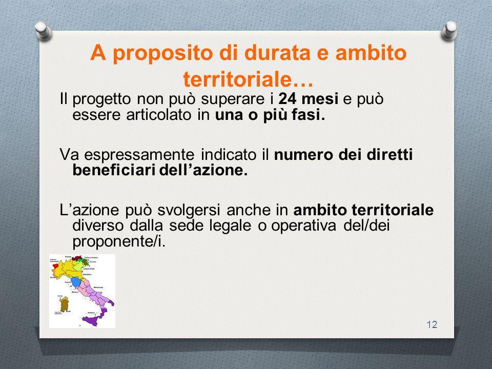 12 A proposito di durata e ambito territoriale… Il progetto non può superare i 24 mesi e può essere articolato in una o più fasi.