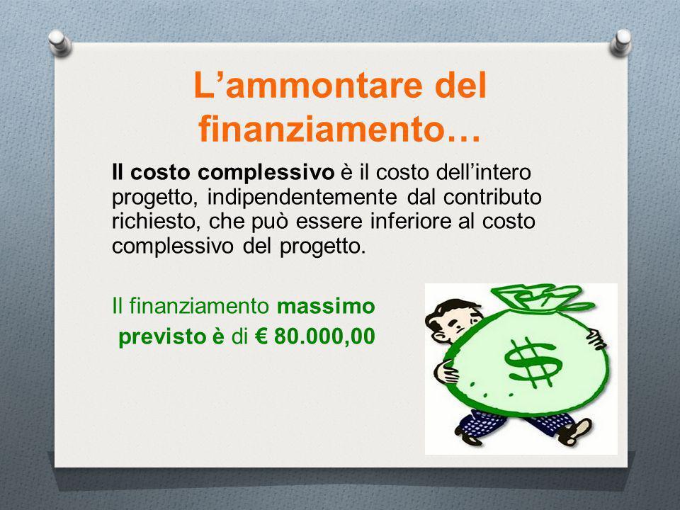 13 Lammontare del finanziamento… Il costo complessivo è il costo dellintero progetto, indipendentemente dal contributo richiesto, che può essere inferiore al costo complessivo del progetto.