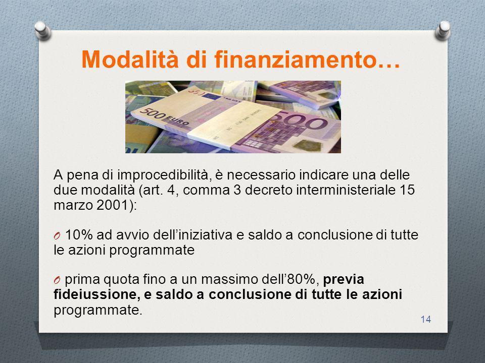 14 Modalità di finanziamento… A pena di improcedibilità, è necessario indicare una delle due modalità (art.