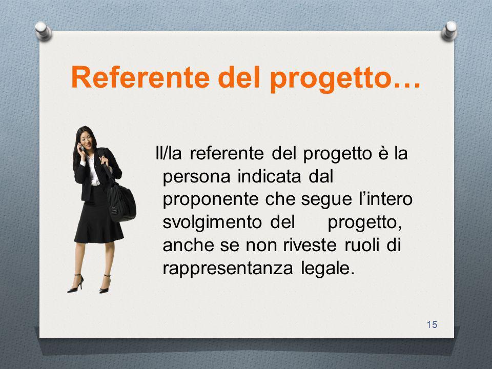 15 Referente del progetto… Il/la referente del progetto è la persona indicata dal proponente che segue lintero svolgimento del progetto, anche se non riveste ruoli di rappresentanza legale.