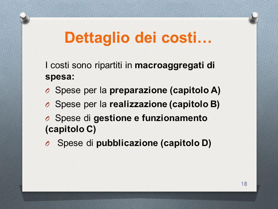 18 Dettaglio dei costi… I costi sono ripartiti in macroaggregati di spesa: O Spese per la preparazione (capitolo A) O Spese per la realizzazione (capitolo B) O Spese di gestione e funzionamento (capitolo C) O Spese di pubblicazione (capitolo D)