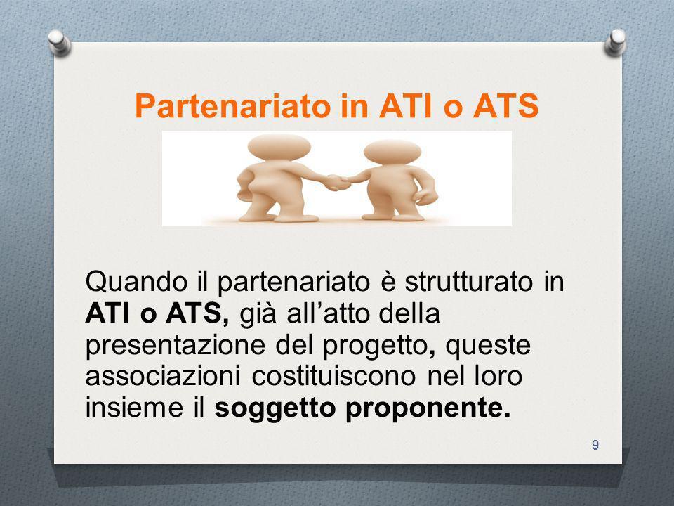 9 Partenariato in ATI o ATS Quando il partenariato è strutturato in ATI o ATS, già allatto della presentazione del progetto, queste associazioni costituiscono nel loro insieme il soggetto proponente.