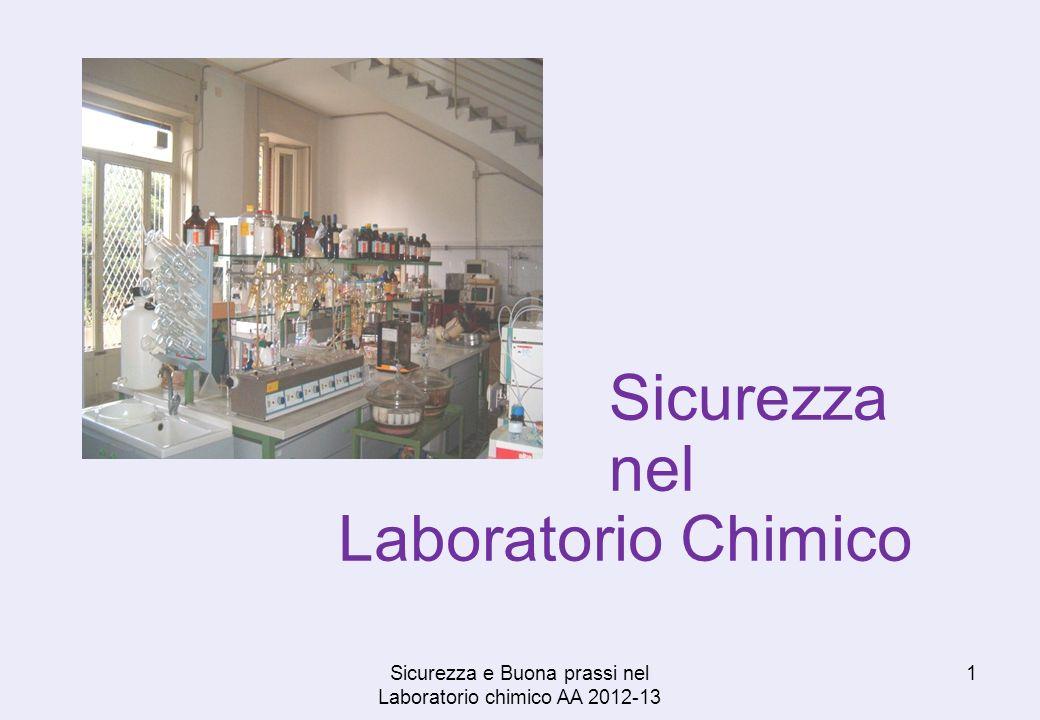Laboratorio Chimico 1Sicurezza e Buona prassi nel Laboratorio chimico AA 2012-13 Sicurezza nel