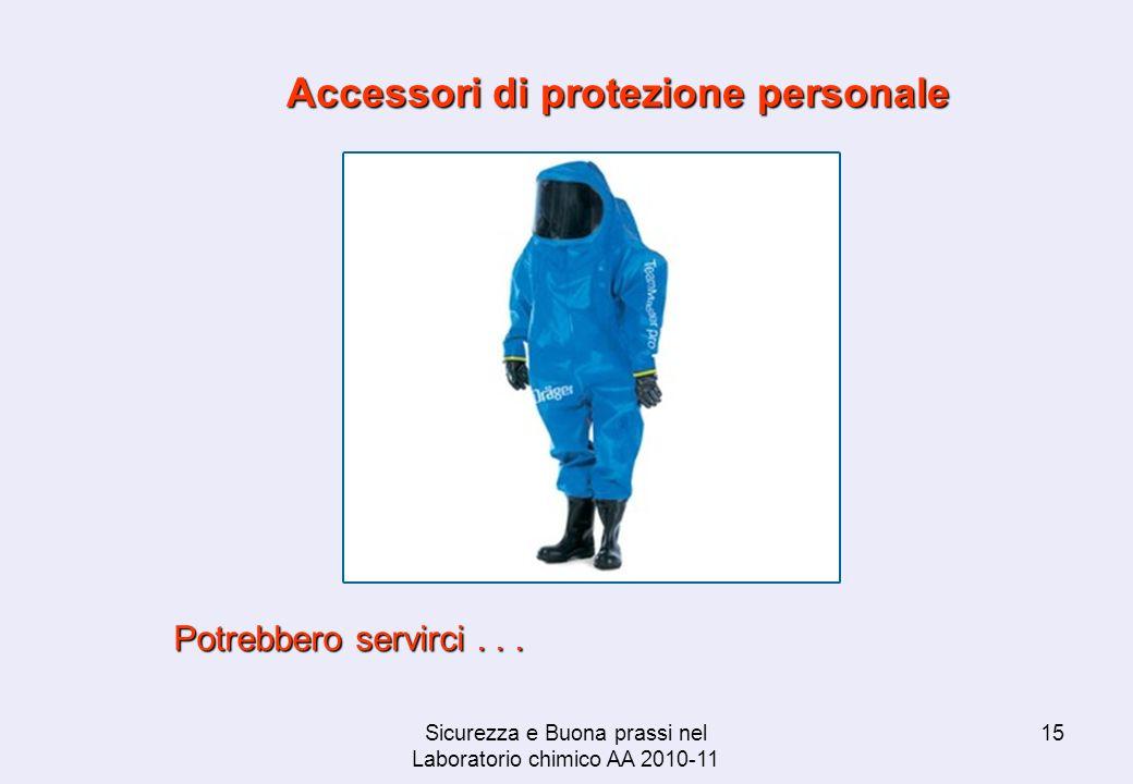 Sicurezza e Buona prassi nel Laboratorio chimico AA 2010-11 15 Accessori di protezione personale Potrebbero servirci...