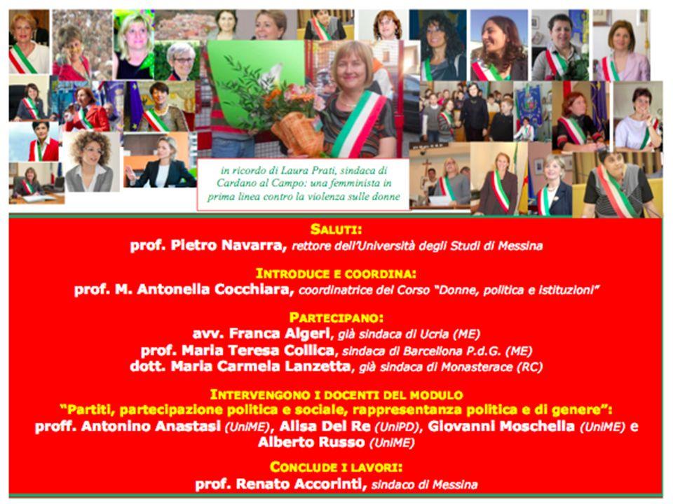 Le tre province italiane con la percentuale pi ù alta di Comuni amministrati da donne sono: Gorizia, 8 donne su 25 Sindaci (il 32%); Prato, 2 donne su 7 Sindaci (il 28,57%); Parma, 12 donne su 47 Sindaci (il 25,53%).