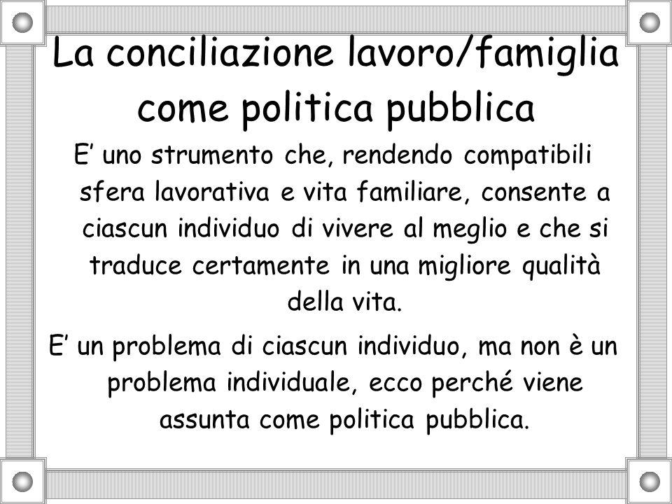 La conciliazione lavoro/famiglia come politica pubblica E uno strumento che, rendendo compatibili sfera lavorativa e vita familiare, consente a ciascu