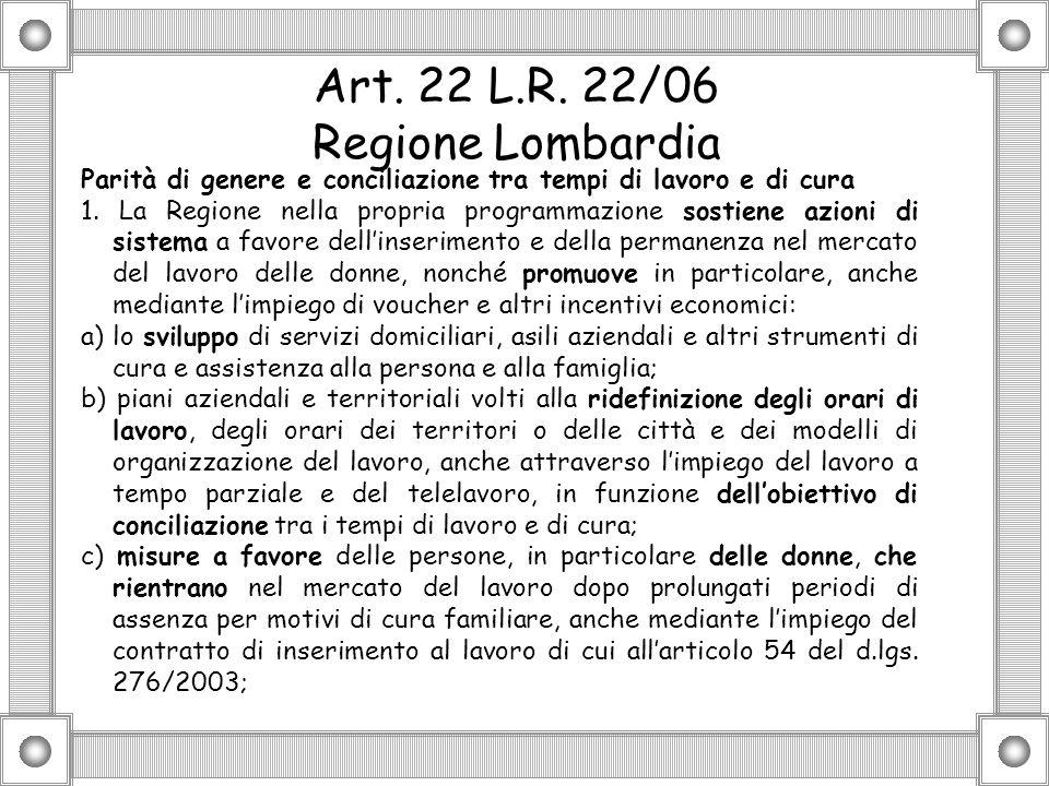 Art. 22 L.R. 22/06 Regione Lombardia Parità di genere e conciliazione tra tempi di lavoro e di cura 1. La Regione nella propria programmazione sostien