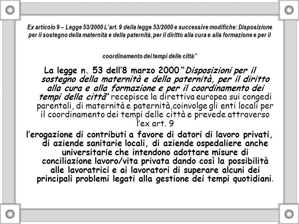 Ex articolo 9 – Legge 53/2000 Lart. 9 della legge 53/2000 e successive modifiche: Disposizione per il sostegno della maternità e della paternità, per