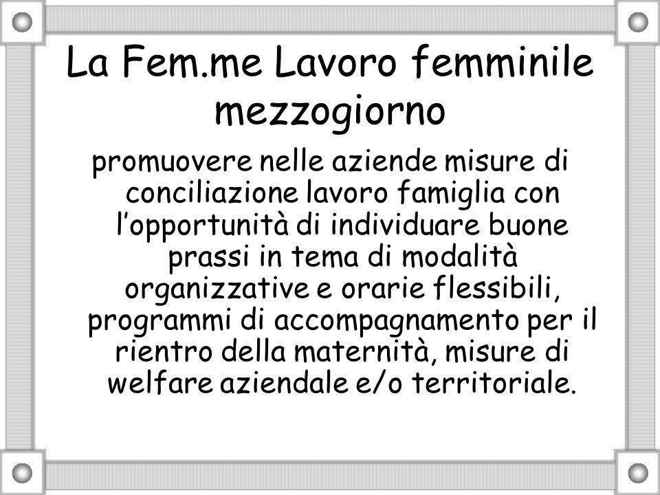 La Fem.me Lavoro femminile mezzogiorno promuovere nelle aziende misure di conciliazione lavoro famiglia con lopportunità di individuare buone prassi i