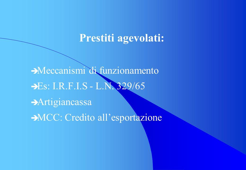 Prestiti agevolati: è Meccanismi di funzionamento è Es: I.R.F.I.S - L.N. 329/65 è Artigiancassa è MCC: Credito allesportazione
