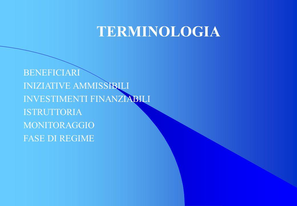 TERMINOLOGIA BENEFICIARI INIZIATIVE AMMISSIBILI INVESTIMENTI FINANZIABILI ISTRUTTORIA MONITORAGGIO FASE DI REGIME