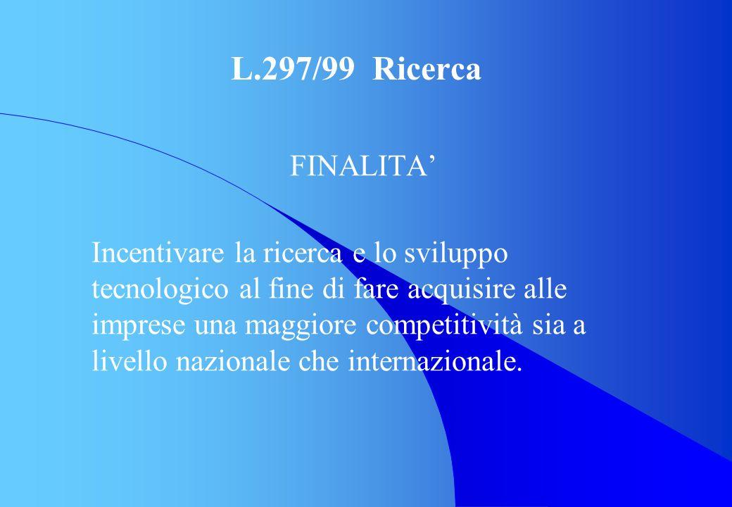 L.297/99 Ricerca FINALITA Incentivare la ricerca e lo sviluppo tecnologico al fine di fare acquisire alle imprese una maggiore competitività sia a liv
