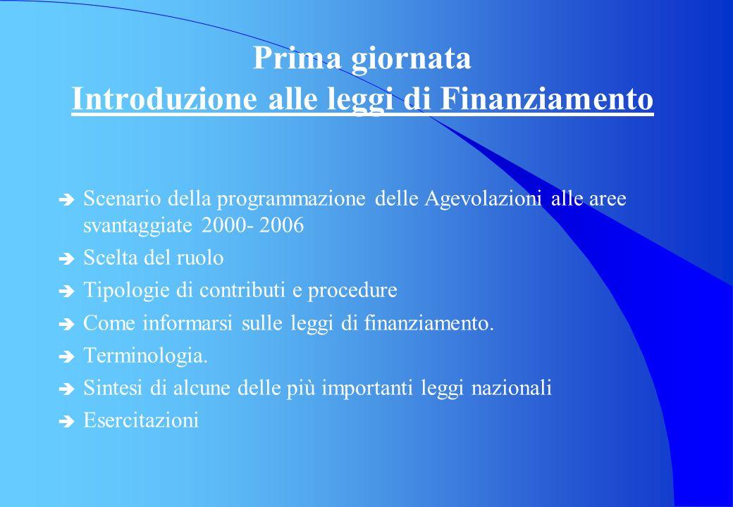 Prima giornata Introduzione alle leggi di Finanziamento è Scenario della programmazione delle Agevolazioni alle aree svantaggiate 2000- 2006 è Scelta del ruolo è Tipologie di contributi e procedure è Come informarsi sulle leggi di finanziamento.