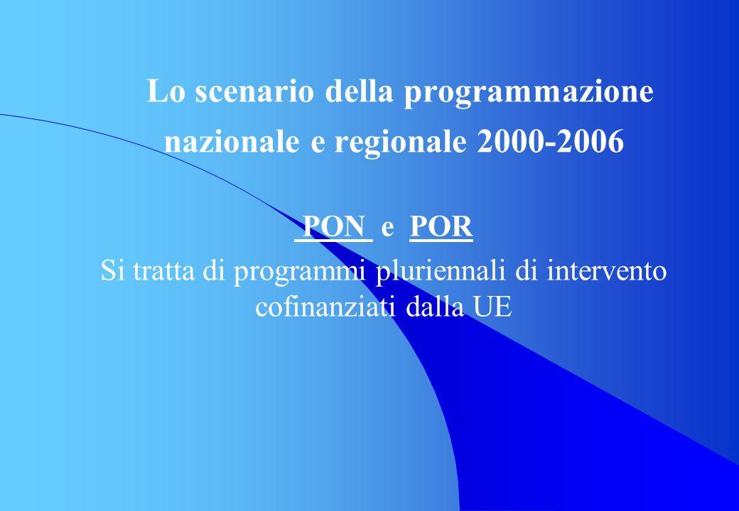 Lo scenario della programmazione nazionale e regionale 2000-2006 PON e POR Si tratta di programmi pluriennali di intervento cofinanziati dalla UE