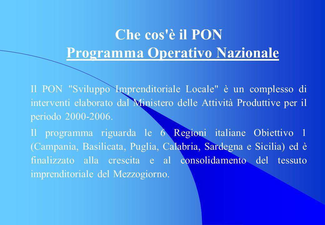 Che cos è il PON Programma Operativo Nazionale Il PON Sviluppo Imprenditoriale Locale è un complesso di interventi elaborato dal Ministero delle Attività Produttive per il periodo 2000-2006.