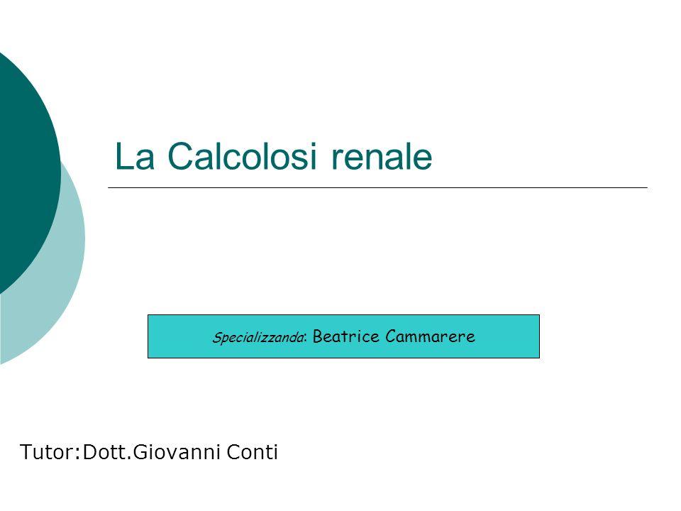 La Calcolosi renale Tutor:Dott.Giovanni Conti Specializzanda : Beatrice Cammarere