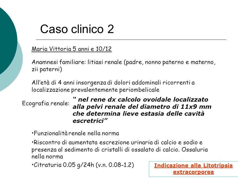 Caso clinico 2 Anamnesi familiare: litiasi renale (padre, nonno paterno e materno, zii paterni) Maria Vittoria 5 anni e 10/12 Alletà di 4 anni insorge