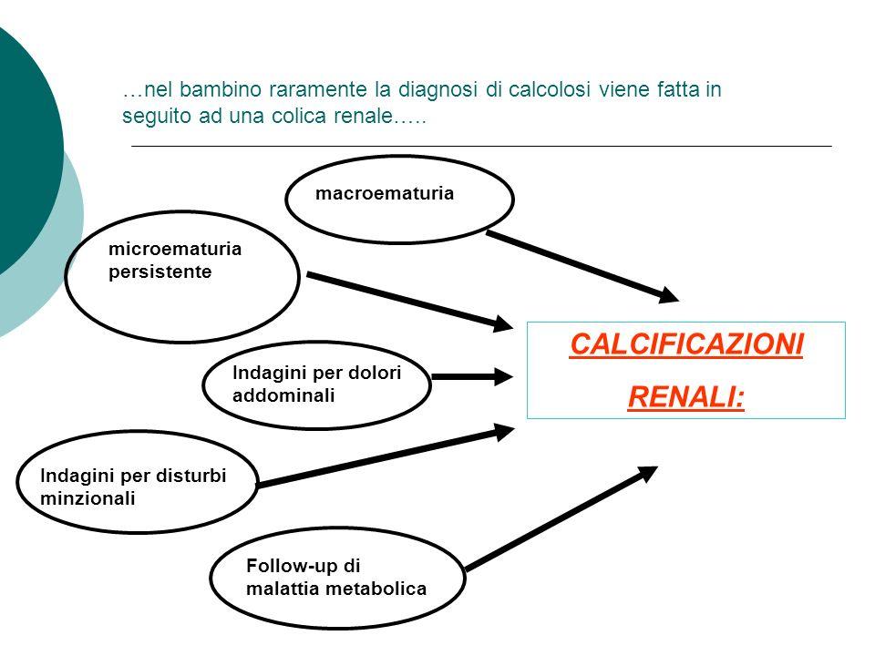 …nel bambino raramente la diagnosi di calcolosi viene fatta in seguito ad una colica renale….. macroematuria microematuria persistente Indagini per do