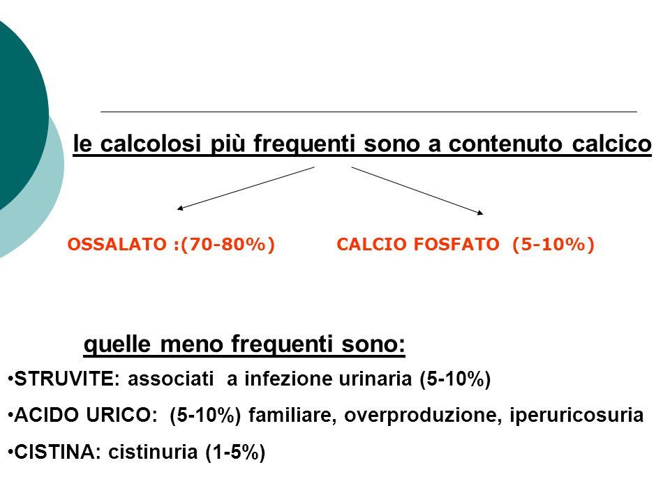 le calcolosi più frequenti sono a contenuto calcico STRUVITE: associati a infezione urinaria (5-10%) ACIDO URICO: (5-10%) familiare, overproduzione, i