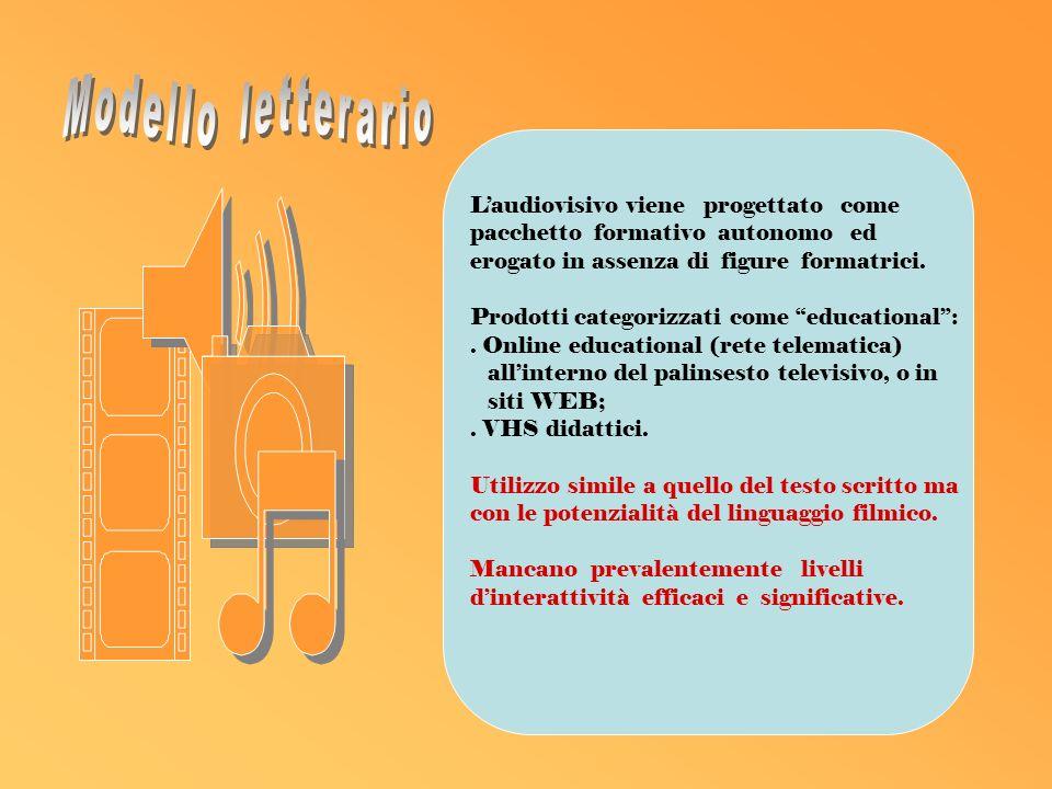 Laudiovisivo viene progettato come pacchetto formativo autonomo ed erogato in assenza di figure formatrici.