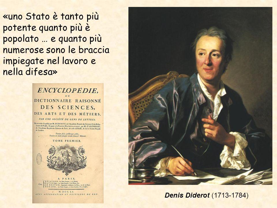 Denis Diderot (1713-1784) «uno Stato è tanto più potente quanto più è popolato … e quanto più numerose sono le braccia impiegate nel lavoro e nella di